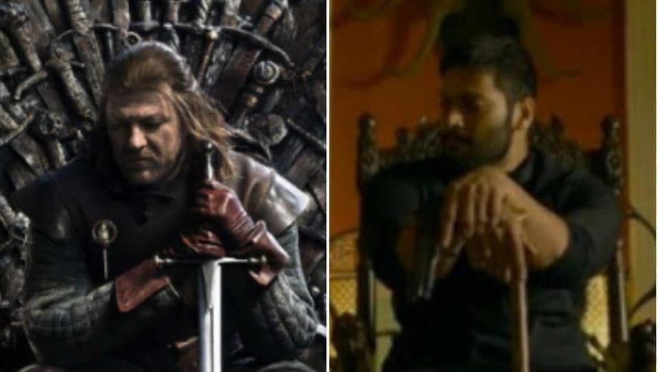Sean Bean on a poster for Game of Thrones, and Ali Fazal in a still from Mirzapur 2.
