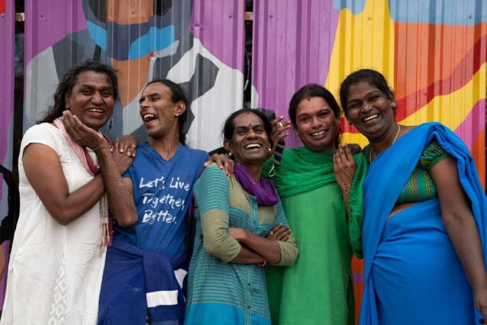 In all, the Aravani Art Project has 30 trans artists from Bengaluru, Mumbai, Chennai, Jaipur, Kolkata and Delhi. The cis members typically serve as mentors and facilitators. (HT PHOTO)
