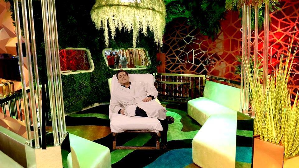 Bollywood actor Salman Khan  on the set of reality TV show Bigg Boss.