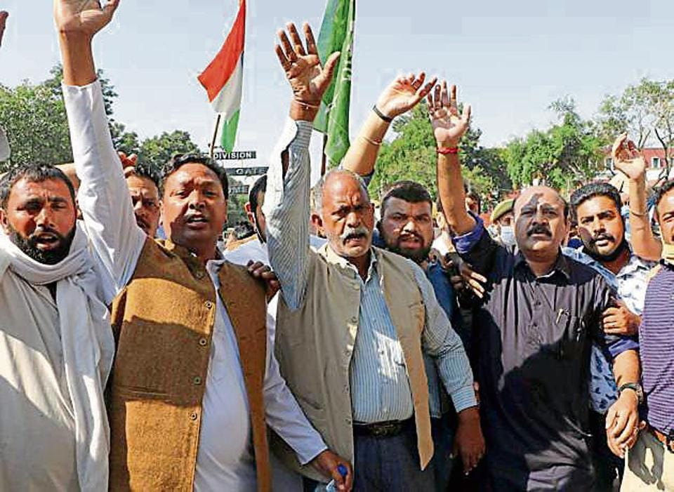 Activists of Peoples Democratic Party (PDPduring a rally against the central government in Jammu on Wednesday.