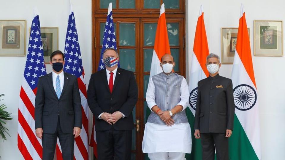 US secretary of state Mike Pompeo, US secretary of defence Mark Esper  with external Minister S Jaishankar and defence minister Rajnath Singh on October 27.