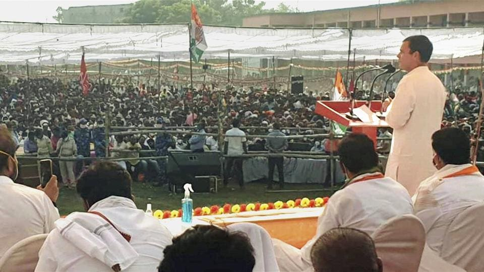 Congress leader Rahul Gandhi addresses a gathering during an election rally, in West Champaran, Wednesday, Oct. 28, 2020. (PTI Photo)(PTI28-10-2020_000128A)