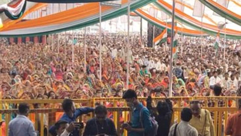 A Congress rally in Madhya Pradesh where bye-elections are being held in 28 assembly constituencies.