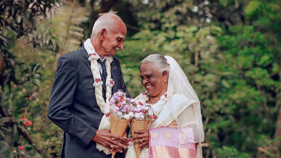 The image shows the couple who have been married for 58 years.