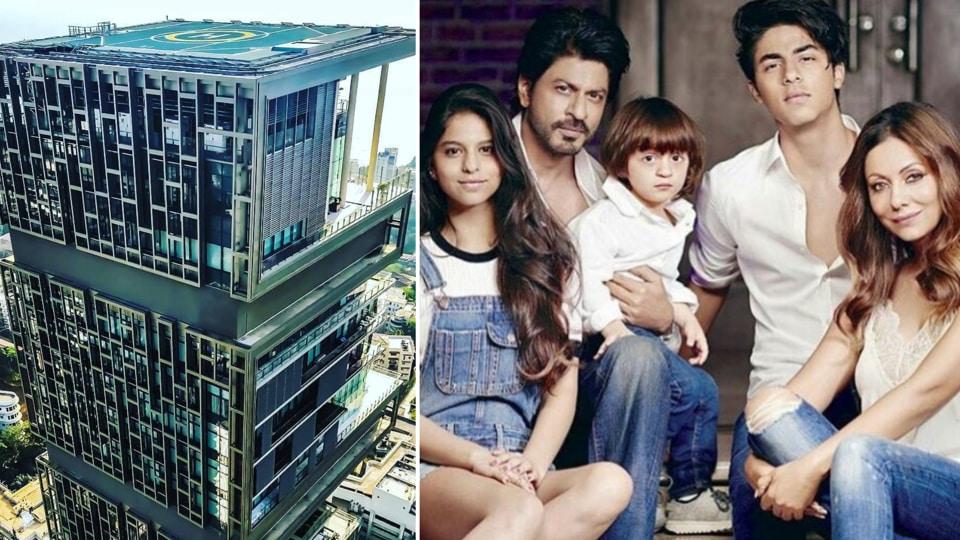Mukesh Ambani's Mumbai home Antilia (L) and (R) Shah Rukh Khan with wife Gauri and children Suhana, AbRam and Aryan.