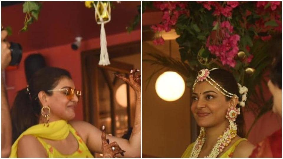 Kajal Aggarwal wore yellow at her haldi ceremony.