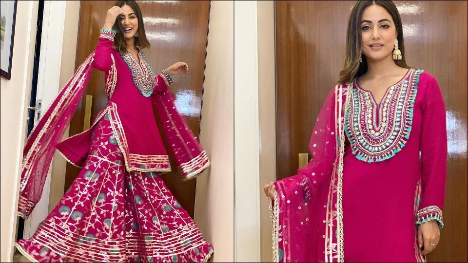 This Karwa Chauth, deck up like Hina Khan in a deep rani pink sharara set