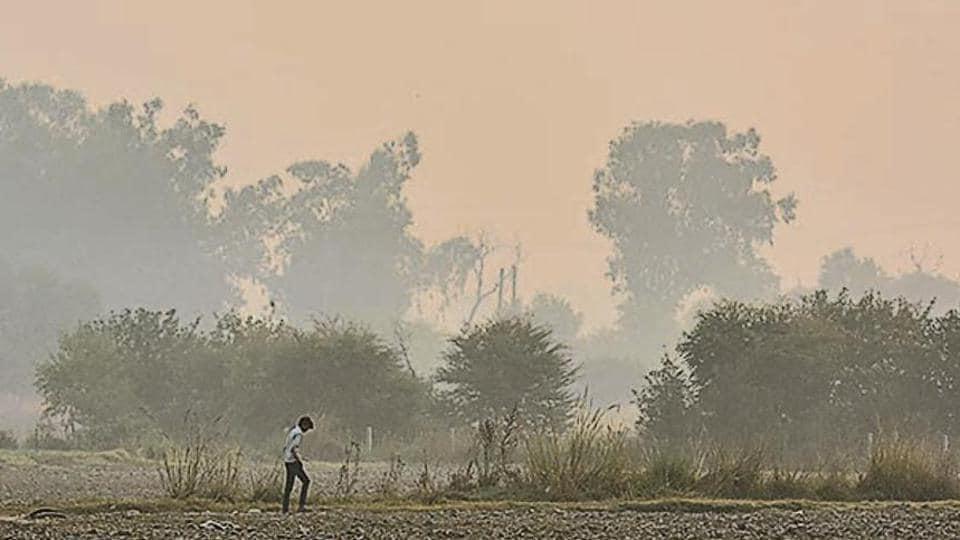 A hazy sky on Wednesday morning in Delhi.