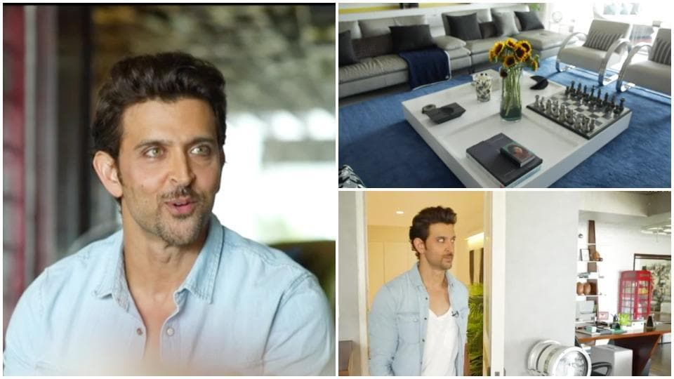 Step inside Hrithik Roshan's sea-facing Mumbai home with a vending machine and monkey bars in living room