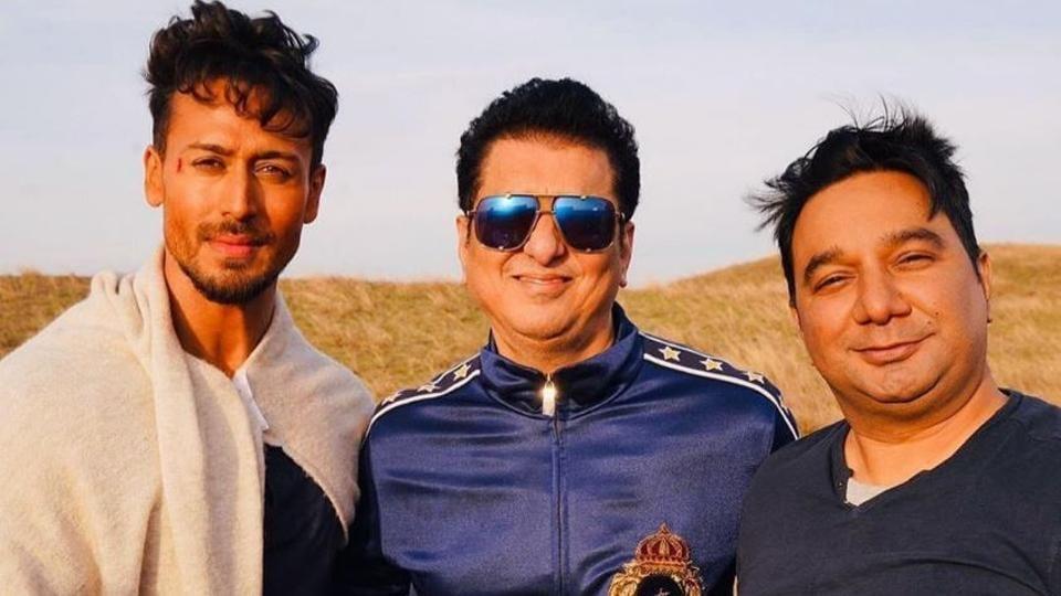 Tiger Shroff with producer Sajid Nadiadwala and director Ahmed Khan.