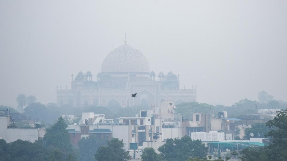 Humayun's Tomb engulfed in a thick layer of haze in the morning on Friday.