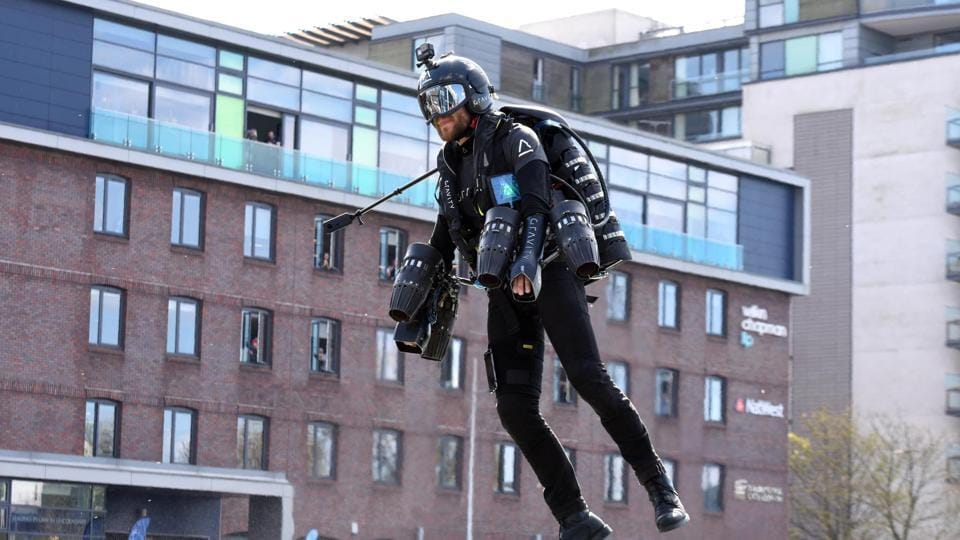 Jet-powered suits that can enable humans to fly without the use of an aircraft was on display on Friday evening as a part of Techfest, the annual science and technology festival of the Indian Institute of Technology-Bombay (IIT-B).