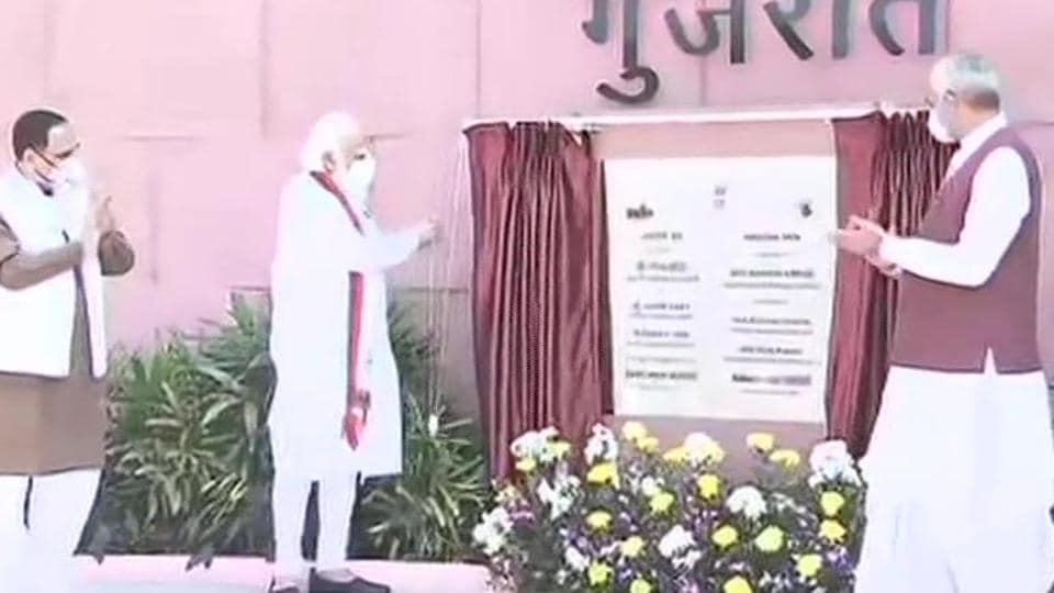 Gujarat chief minister Vijay Rupani and Governor Acharya Devvrat were also present at the inauguration.