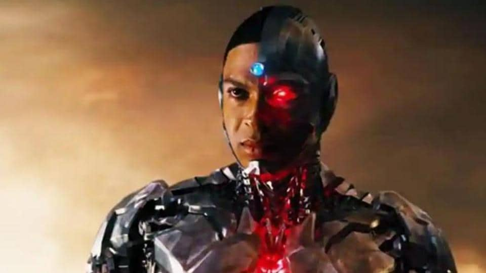 Ray Fisher as Cyborg, in a still from Justice League.