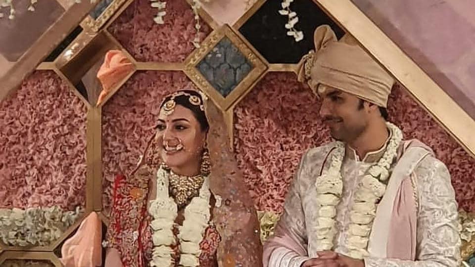Kajal Aggarwal and Gautam Kitchlu at their wedding.