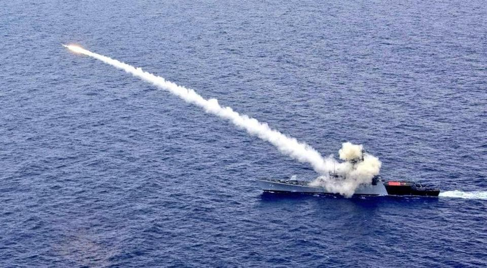 Anti-ship missile fired by Indian Navy's Guided Missile Corvette INS Kora hits the target.