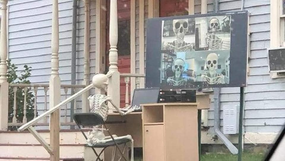 Halloween decorations outside someone's home.