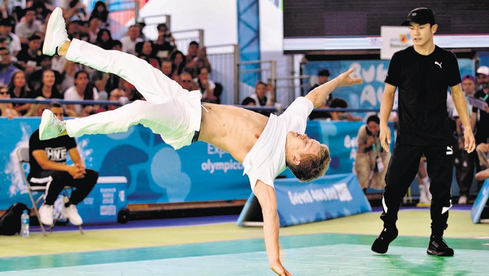 Breakdancer Sergei Chernyshev of Russia in competition at the Buenos Aires 2018 Youth Olympics. At the Games, points are awarded for technique, variety and interpretative  and artistic quality.