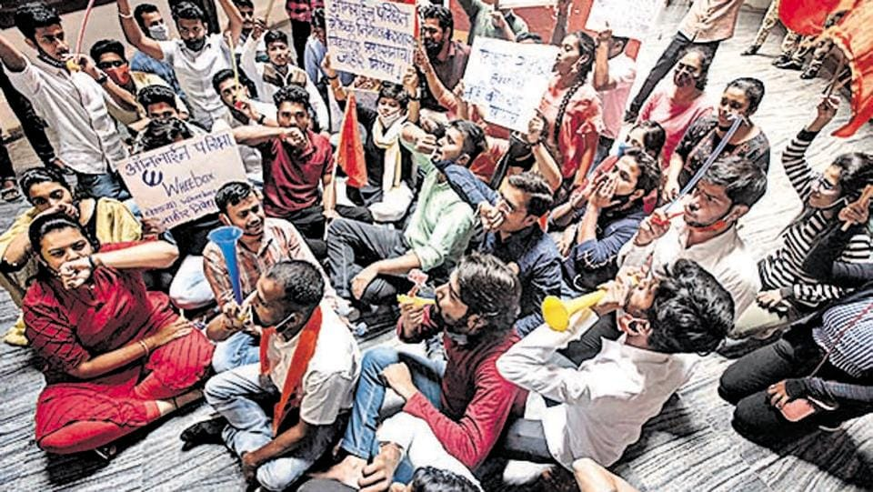 Supporters, members of ABVP student wing protest at Savitribai Phule Pune University campus , on Thursday.
