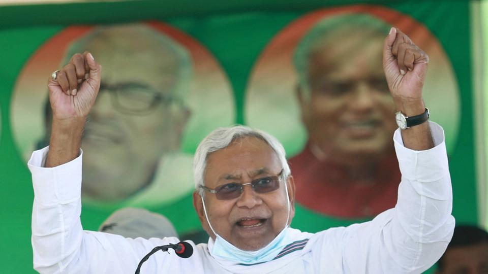 Bihar Chief Minister Nitish Kumar addresses an election campaign rally in Sheohar on Friday.