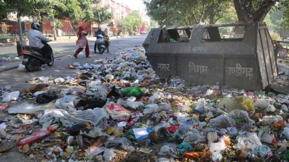 Chandigarh virtually overflowed with garbage due to the recent strike by door to door waste collectors.