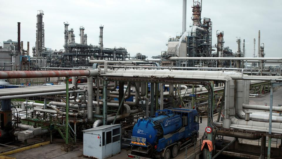 The refinery of Austrian oil and gas group OMV is pictured in Schwechat, Austria.