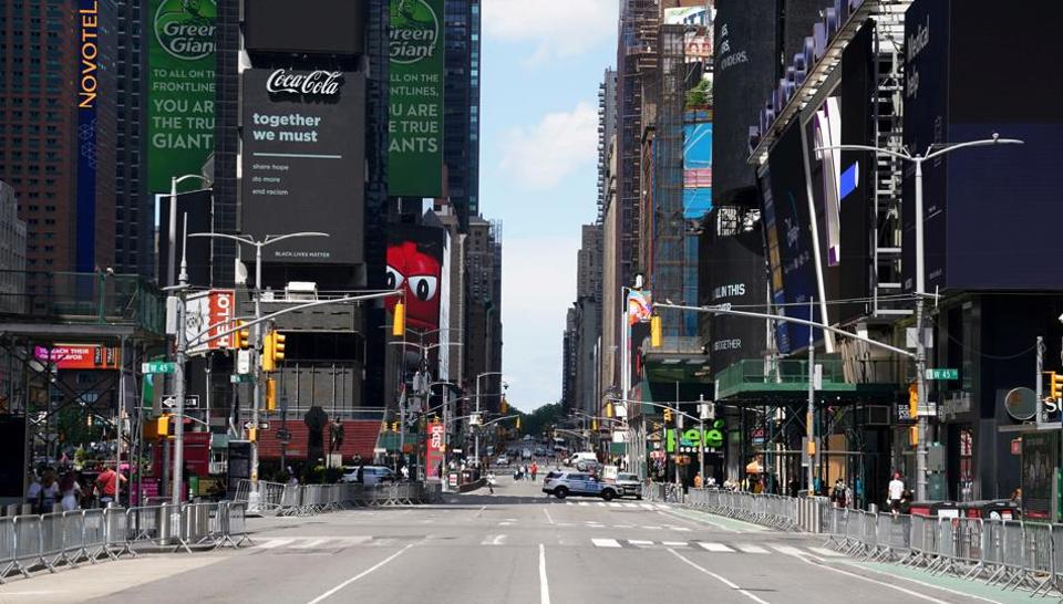 Times Square is pictured, as the coronavirus outbreak (Covid-19) continues, in the Manhattan borough of New York City, New York, U.S., June 29, 2020.