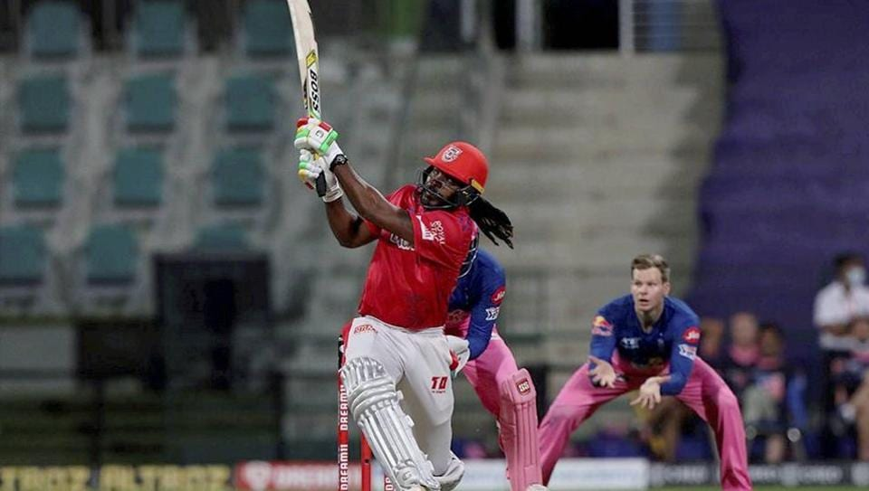 Chris Gayle of Kings XI Punjab plays a shot during the Indian Premier League (IPL) cricket match against Rajasthan Royals at the Sheikh Zayed Stadium, in Abu Dhabi, UAE.
