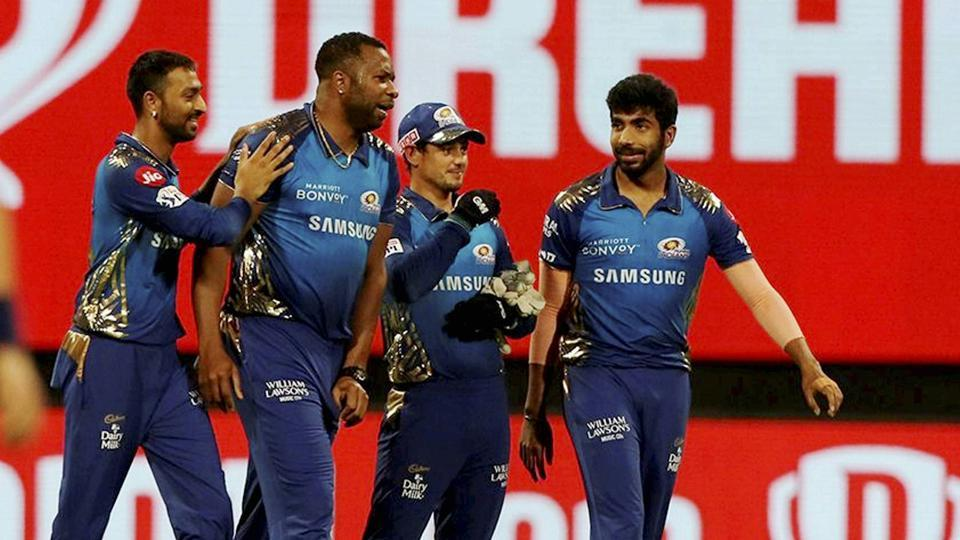 Mumbai Indians players celebrates the wicket of AB de Villiers of Royal Challengers Bangalore during Indian Premier League (IPL) match between the Mumbai Indians and the Royal Challengers Bangalore, at the Sheikh Zayed Stadium in Abu Dhabi.