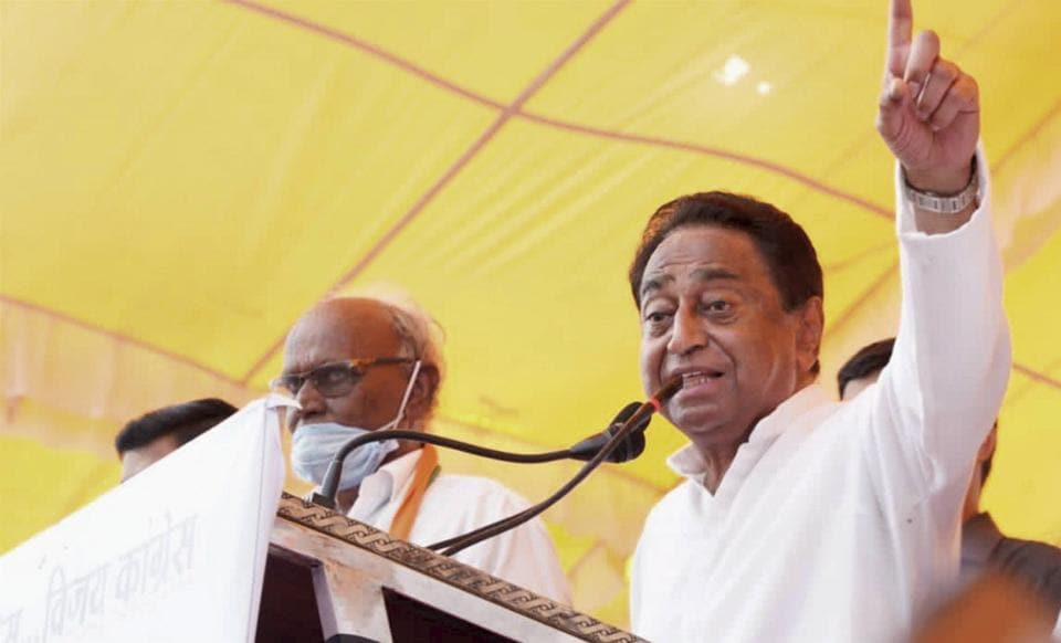 Former Chief Minister and Madhya Pradesh Congress President Kamal Nath addresses an election campaign meeting in Badnawar constituency ahead of assembly bypolls, Tuesday, Oct 20, 2020.