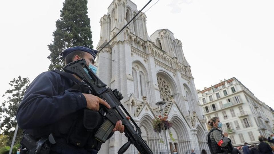 A police officer stands near Notre Dame church, where a knife attack took place, in Nice, France on October 29, 2020.