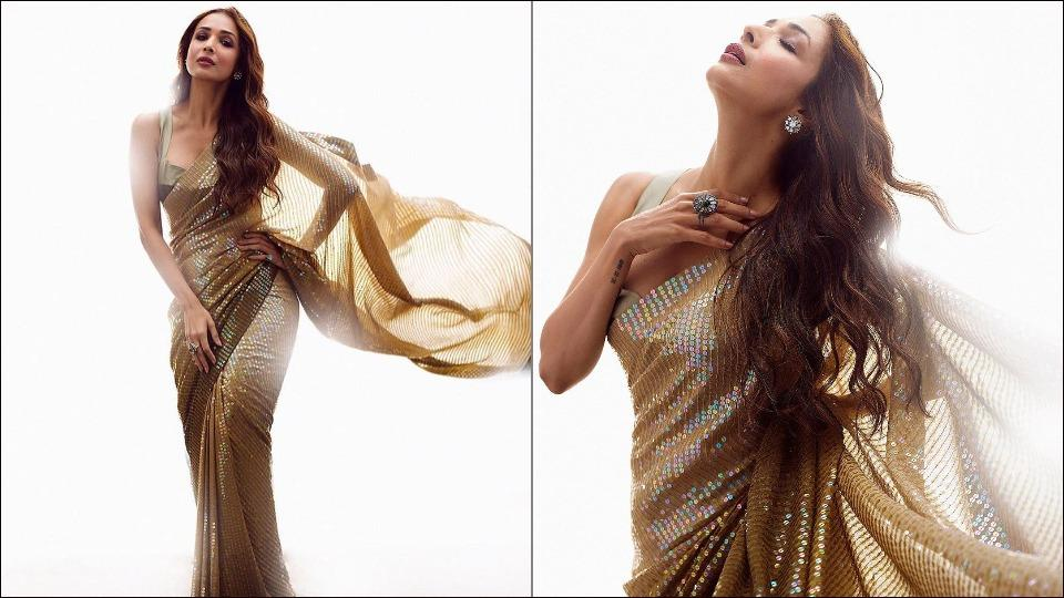 Malaika Arora sets the Internet on fire in a dazzling bling saree by Manish Malhotra