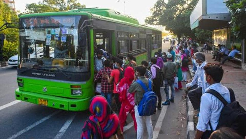 People board a DTC bus at AIIMS in New Delhi. Representational image