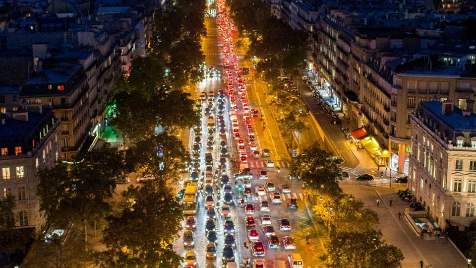 Traffic at a junction, ahead of national lockdown, in Paris, France.