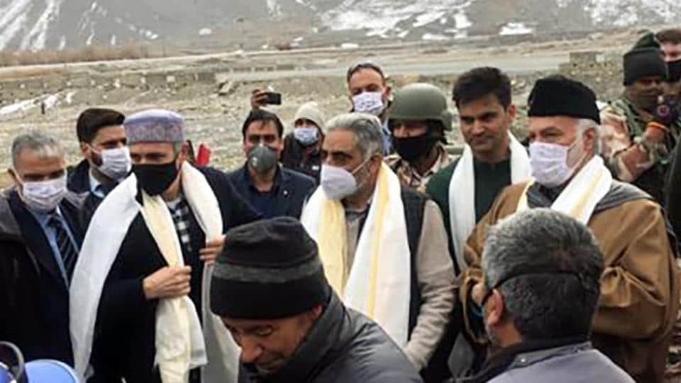 A delegation of 'People's Alliance for Gupkar Declaration' leaders, including Omar Abdullah, Ghulam Nabi Lone Hanjura, Nasir Aslam Wani, Muzafar Shah & Waheed Parra, arrives in Drass, Kargil to meet local leaders of the region on Friday.