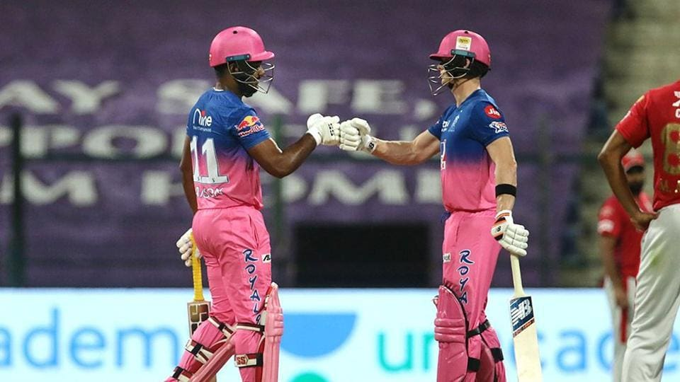 Sanju Samson and Steve Smith of Rajasthan Royals during the Indian Premier League (IPL) cricket match against Kings XI Punjab, at the Sheikh Zayed Stadium, in Abu Dhabi.
