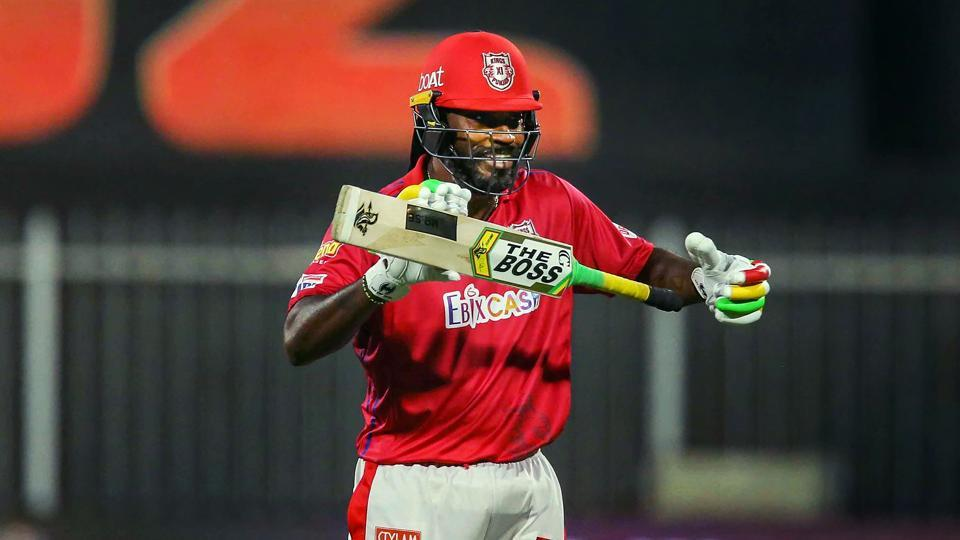 Chris Gayle of Kings XI Punjab after scoring fifty runs during Indian Premier League (IPL) cricket match against Kolkata Knight Riders, in Sharjah.