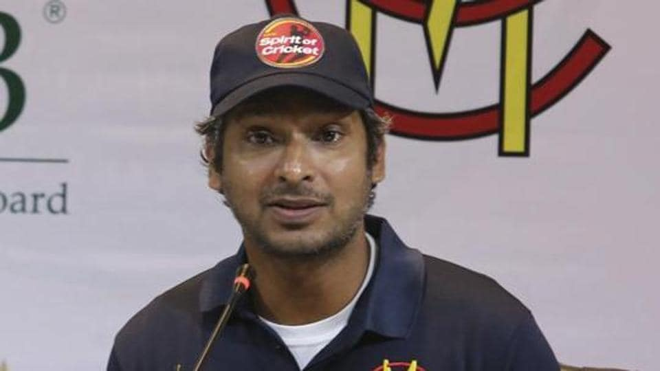 Former Sri Lankan captain Kumar Sangakkara addresses a news conference in Lahore, Pakistan.