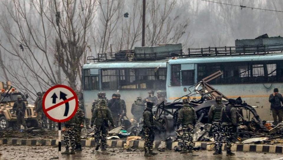 Security personnel at the site of suicide bomb attack at Lathepora Awantipora in Pulwama district of south Kashmir on February 14, 2019.