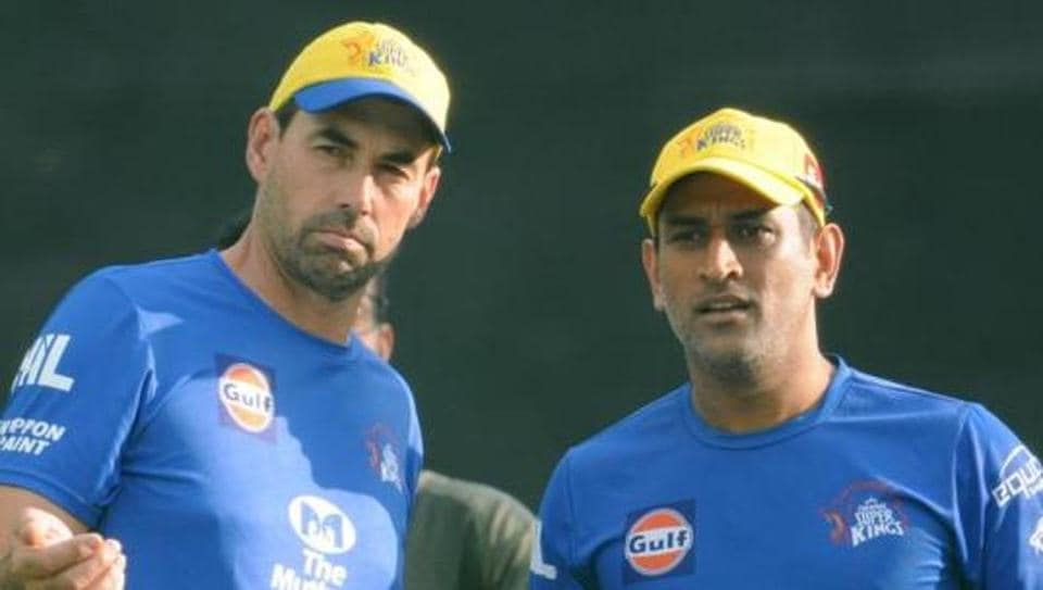 Chennai Super Kings Captain Mahendra Singh Dhoni and Coach Stephen Fleming during practice session at IS Bindra Stadium.