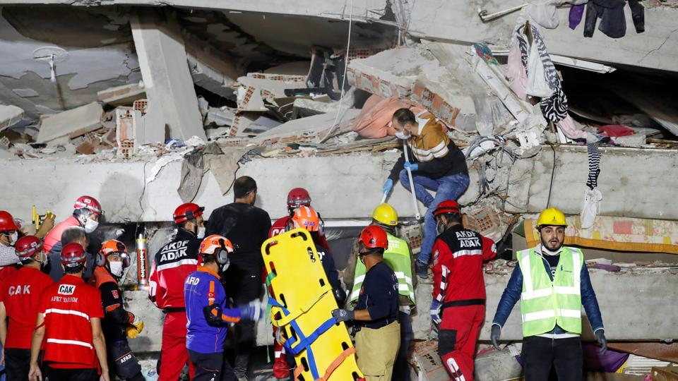 Search and rescue operation is underway at Turkey's Aegean resort city of Izmir, which suffered much of the damage.