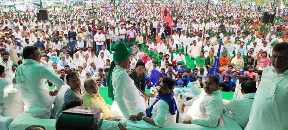Indian National Lok Dal chief Om Prakash Chautala during a rally at Baroda village on Saturday.