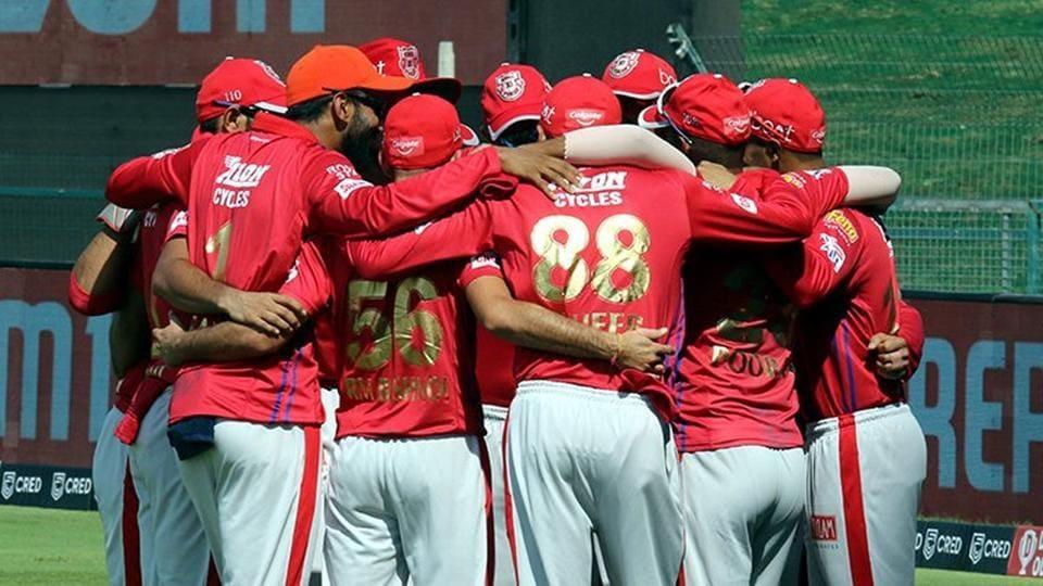 IPL 2020 CSK vs KXIP: Kings XI Punjab players in a team huddle.