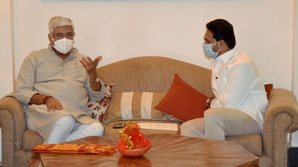 Andhra Pradesh Chief Minister YS Jagan Mohan Reddy during a meeting  with Jal Shakti Minister Gajendra Singh Shekhawat  in New Delhi.