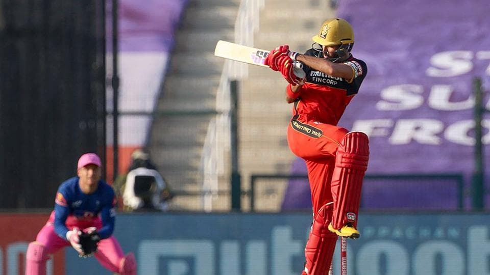 Royal Challengers Bangalore player Devdutt Padikkal plays a shot during IPL 2020 cricket match against Rajasthan Royals, at Sheikh Zayed Stadium in Abu Dhabi.