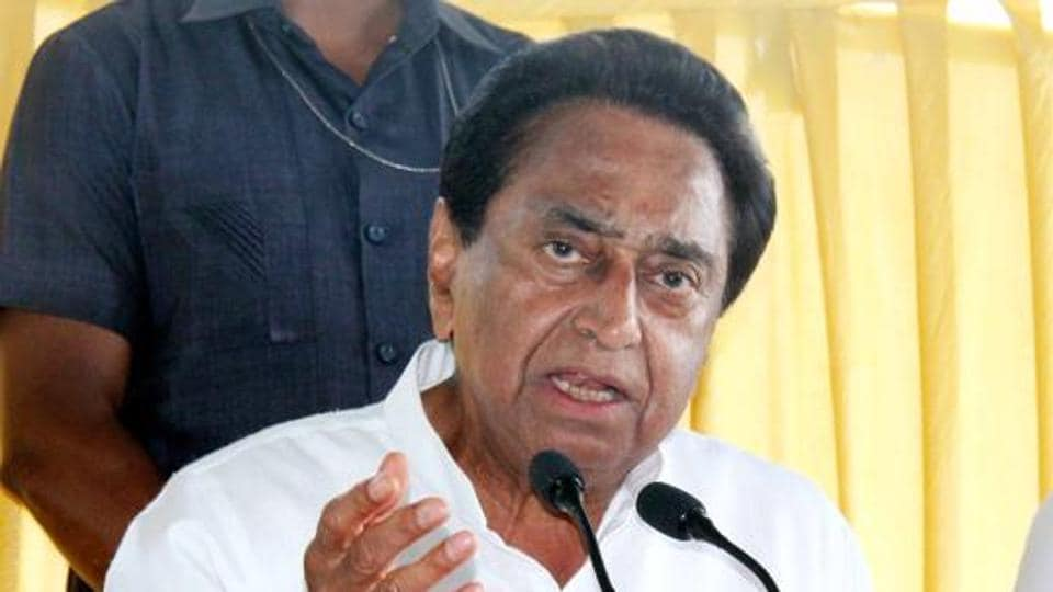 Madhya Pradesh chief minister Kamal Nath addressing a press conference in Bhopal.