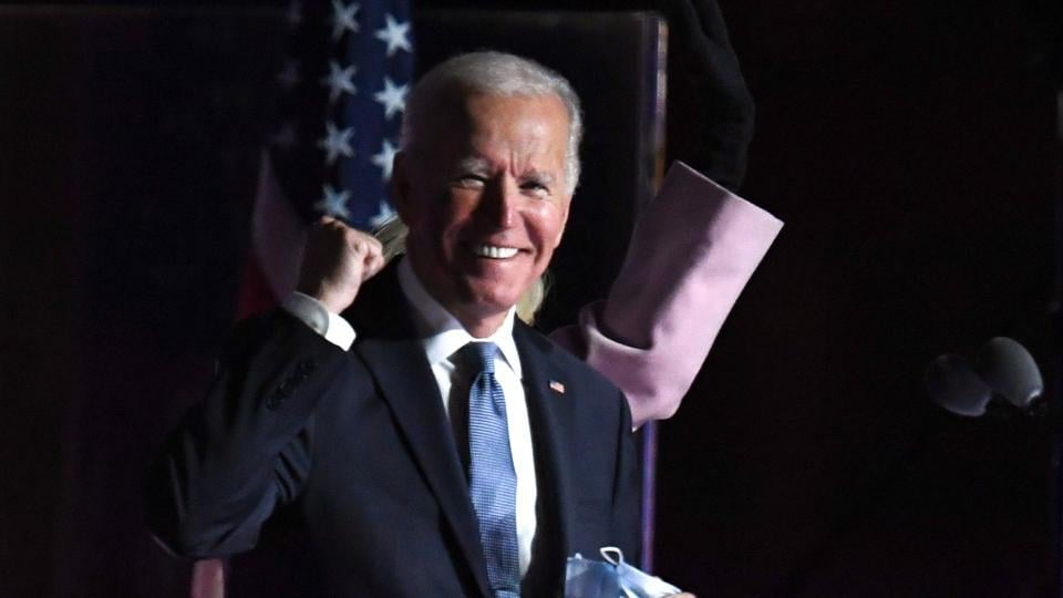 'I don't see red states or blue states, but only United States': Biden tells Americans in victory speech