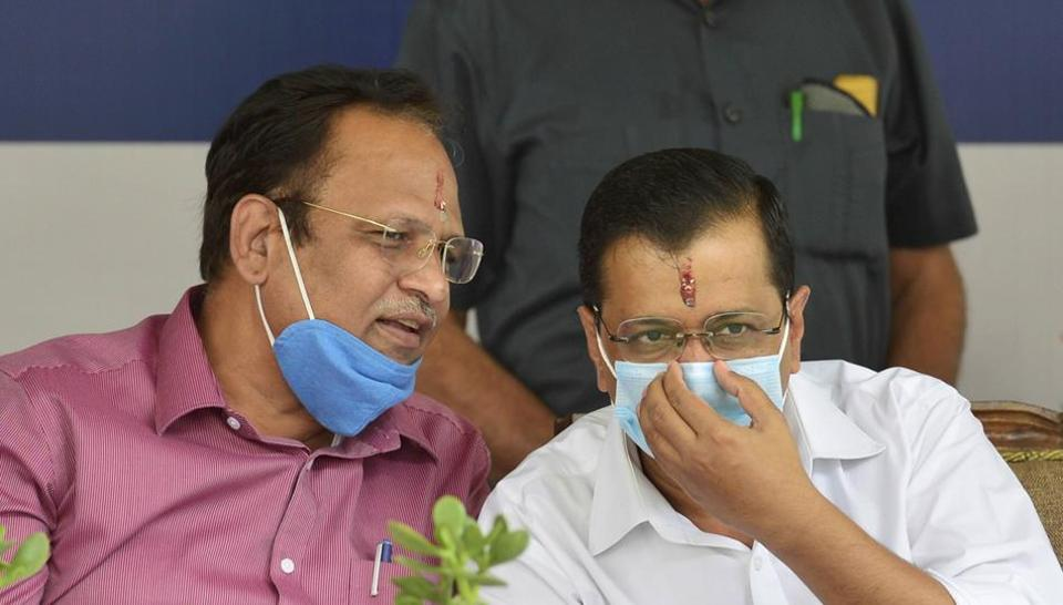 Delhi chief minister Arvind Kejriwal with health minister Satyendra Jain during the foundation stone laying function for a 1500-bedded medical block at the LNJP Hospital in New Delhi.