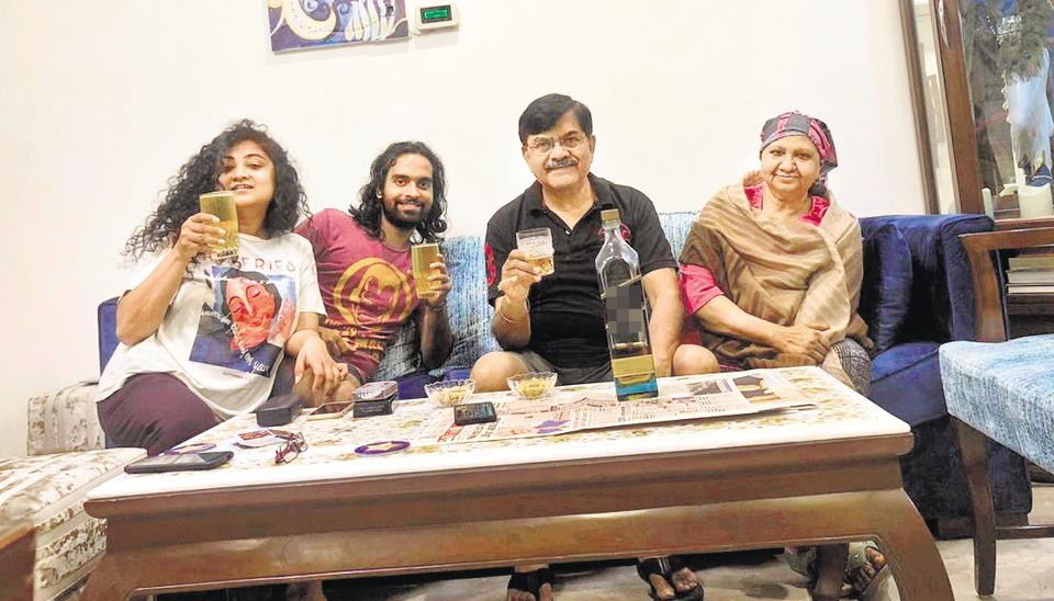 "Theatre artists Gunjan Gupta and husband Dhruv, with her parents Gouri Shankar and Sunita Gupta. ""Initially, I had to come to terms with what I could and could not now do in my own home,"" Shankar says."
