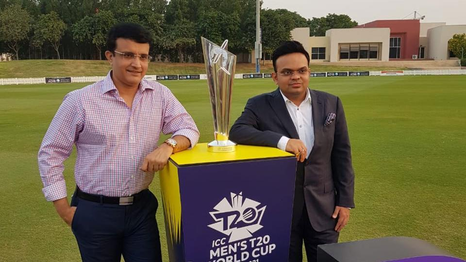 BCCI chief Sourav Ganguly with the T20 World Cup trophy